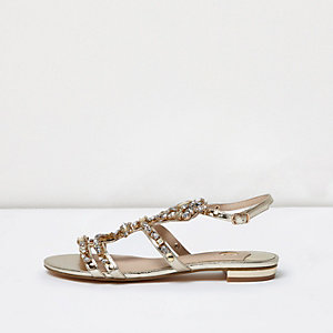 Gold metallic jewel sandals