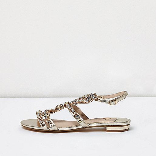 Gold metallic jewel sandals