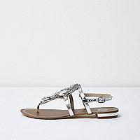 Sandales plates argentées métallisées ornées