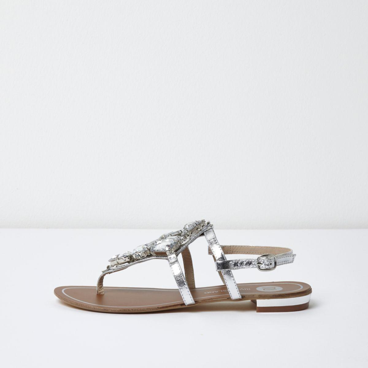 Silver metallic embellished flat sandals