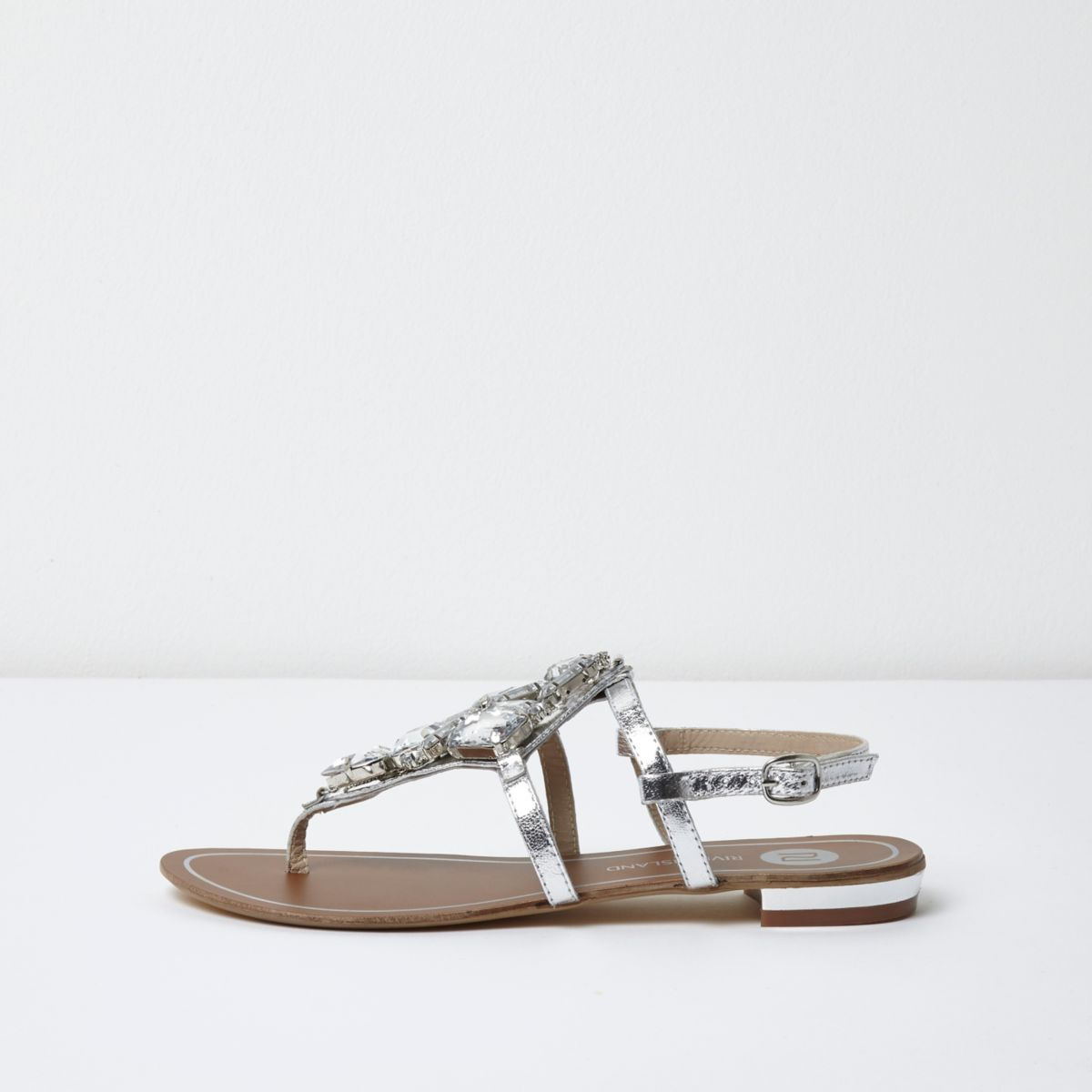 Silver metallic embellished flat sandals