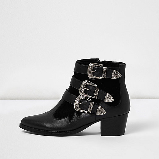 Black leather wide fit buckle boots