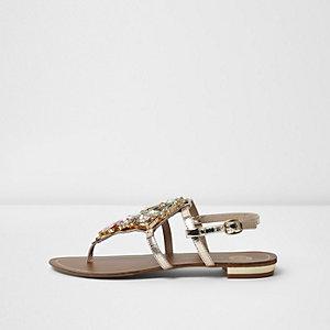 Sandalen mit Ziersteinchen in Gold-Metallic