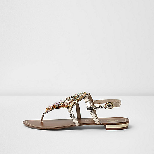 Gold metallic embellished flat sandals