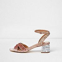 Pink glitter jewel block heel sandals
