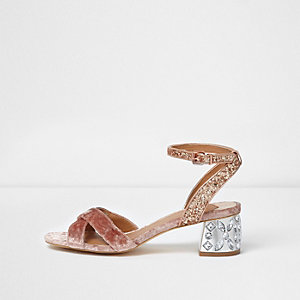 Pink glitter jewel block heel sandals