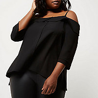 Plus black placket cold shoulder top