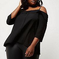Plus black leather look pencil skirt - midi skirts - skirts - women