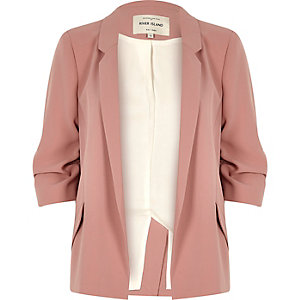 Blush pink ruched sleeve blazer