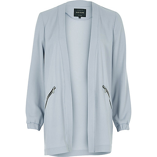 Pale blue open lightweight jacket