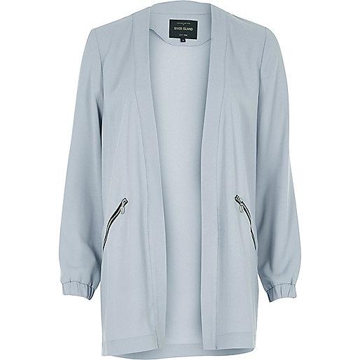 Pale blue open lightweight jacket