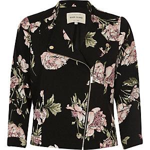 Black floral print soft biker jacket