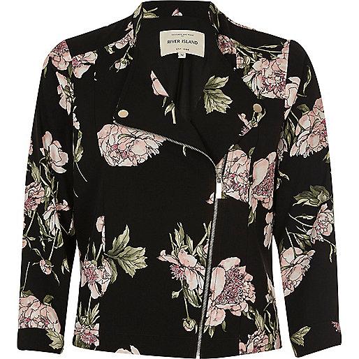 Black floral print zip front biker jacket