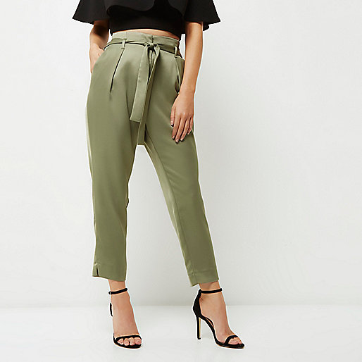 Petite green soft satin tie waist trousers