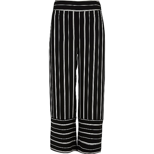 Black stripe wide leg culottes