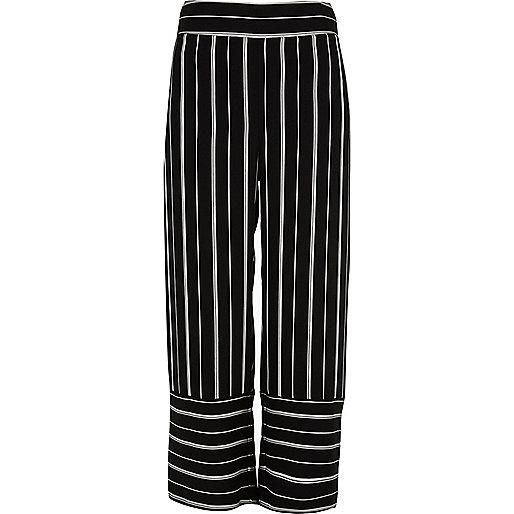 Black stripe wide leg culottes