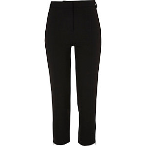 Black smart cropped slim fit pants