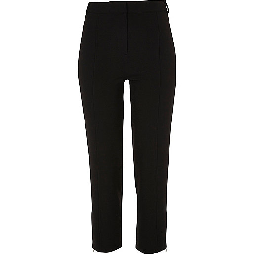 Black smart cropped slim fit trousers