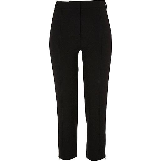 Pantalon court slim noir habillé