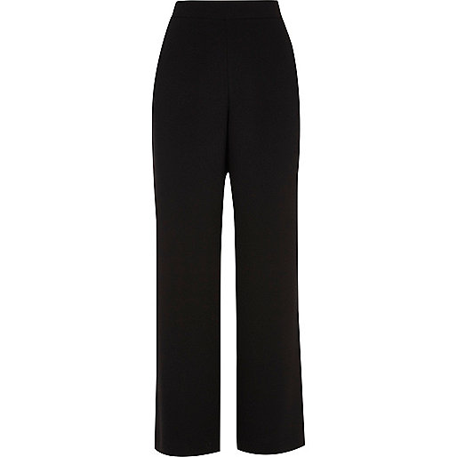 Black soft wide leg trousers