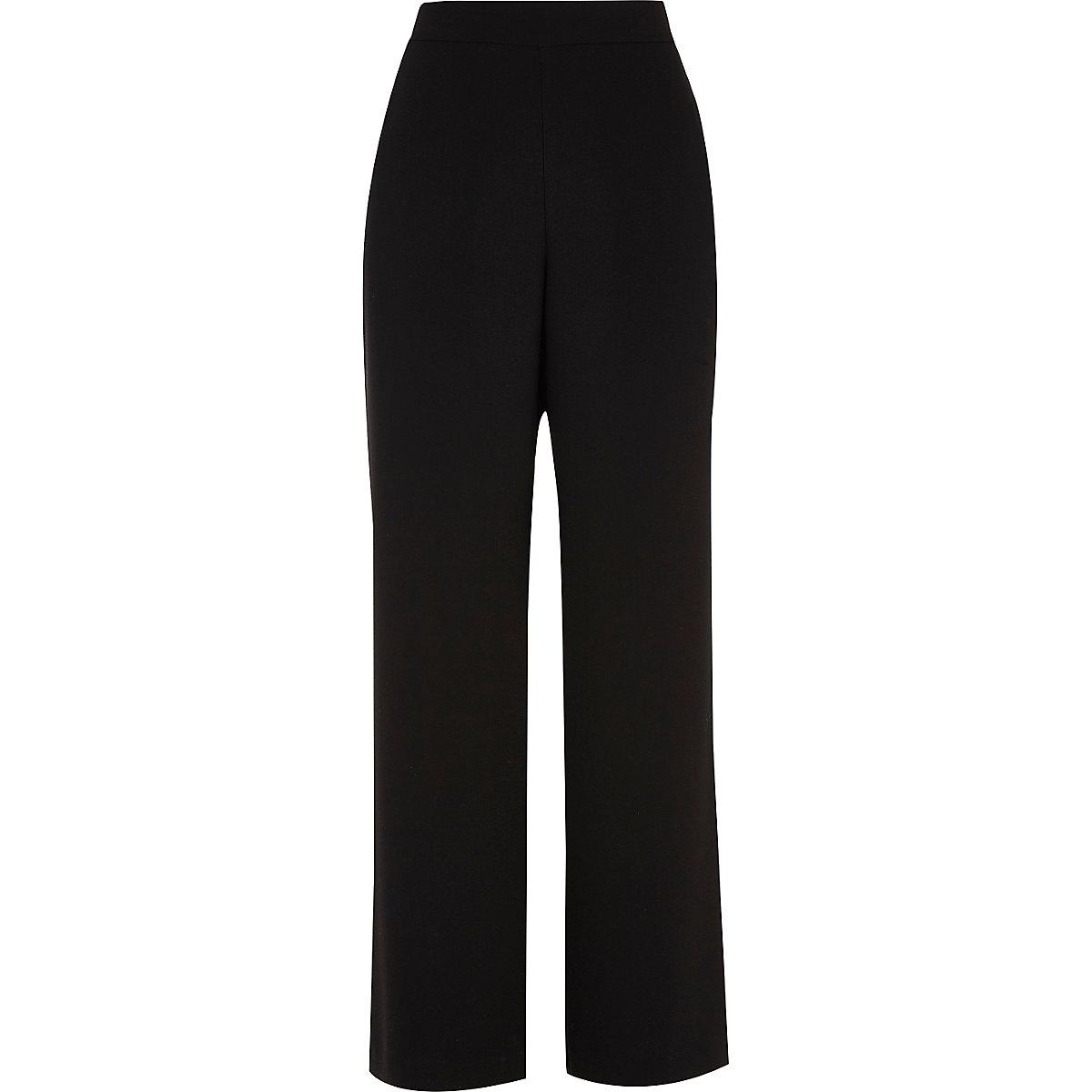 Black soft wide leg trousers