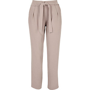 Light pink soft tie tapered pants