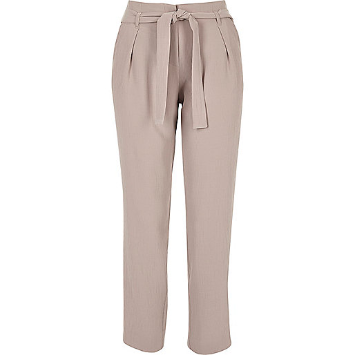 Light pink soft tie tapered trousers