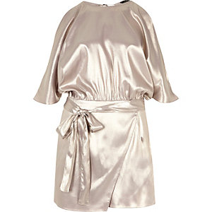 Silver foil cold shoulder batwing playsuit