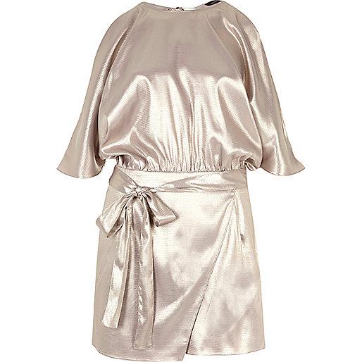 Silver foil cold shoulder batwing playsuit
