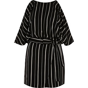 Black and white stripe cold shoulder playsuit