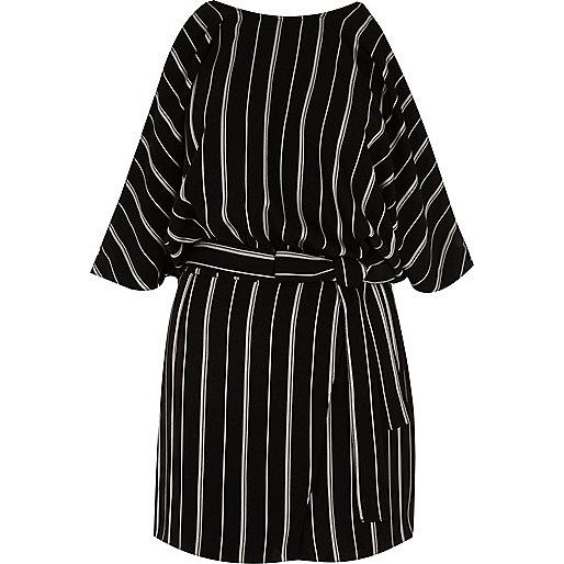 Black and white stripe cold shoulder romper