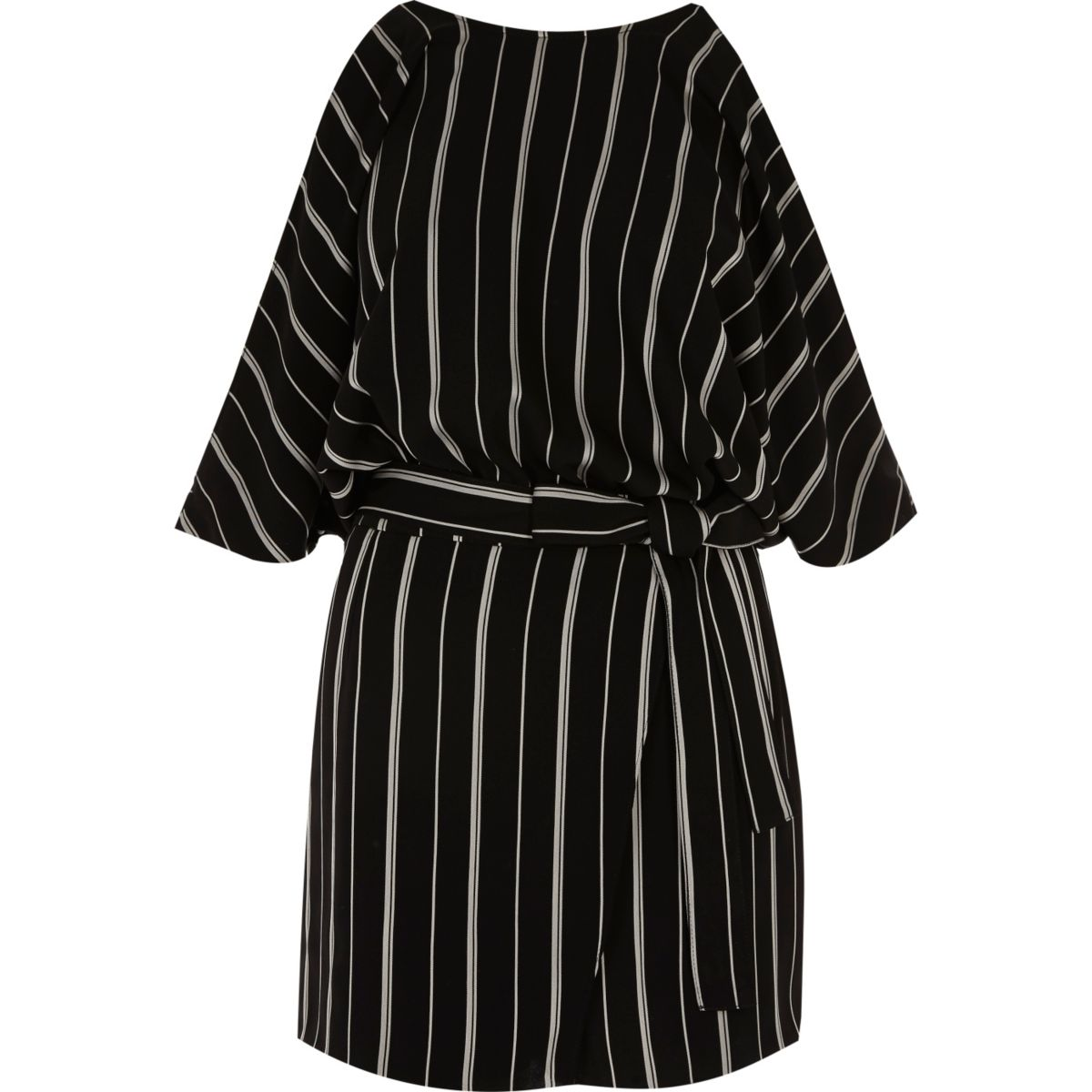 Black and white stripe cold shoulder playsuit