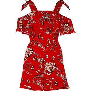 Red floral print tie sleeve playsuit
