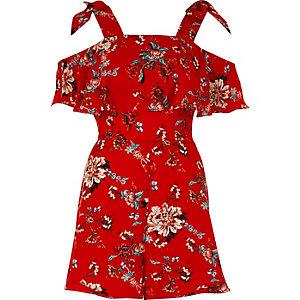 Rode playsuit met bloemenprint en strikjes op de schouders