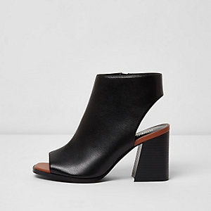 Black wide fit block heel peep toe shoe boots