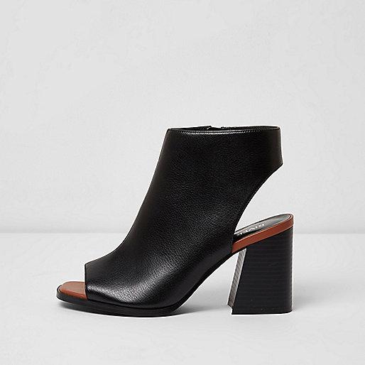 Black wide fit block heel peep toe shoe boots