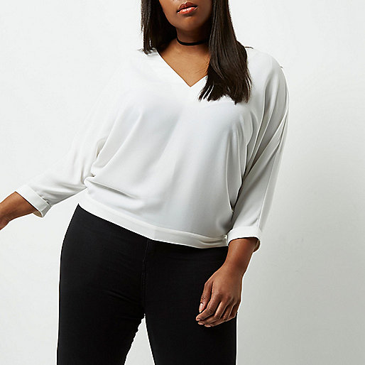 Plus white plunge strap back top