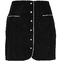 Black button front lace mini skirt
