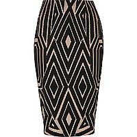 Black jacquard print pencil skirt