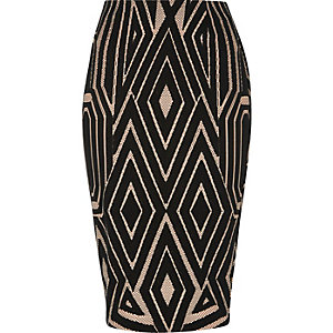 Black jacquard print pencil skirt