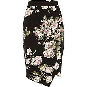 Black floral print wrap pencil skirt
