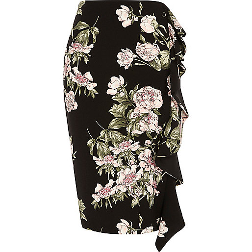 Black floral print frill pencil skirt