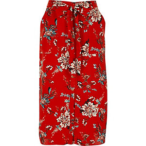 Red floral print shirt skirt