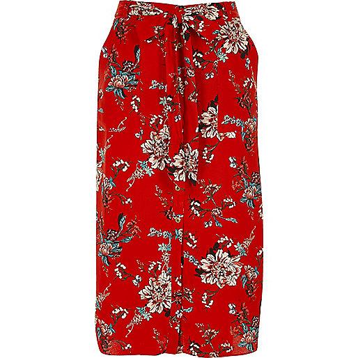 Red floral print shirt skirt