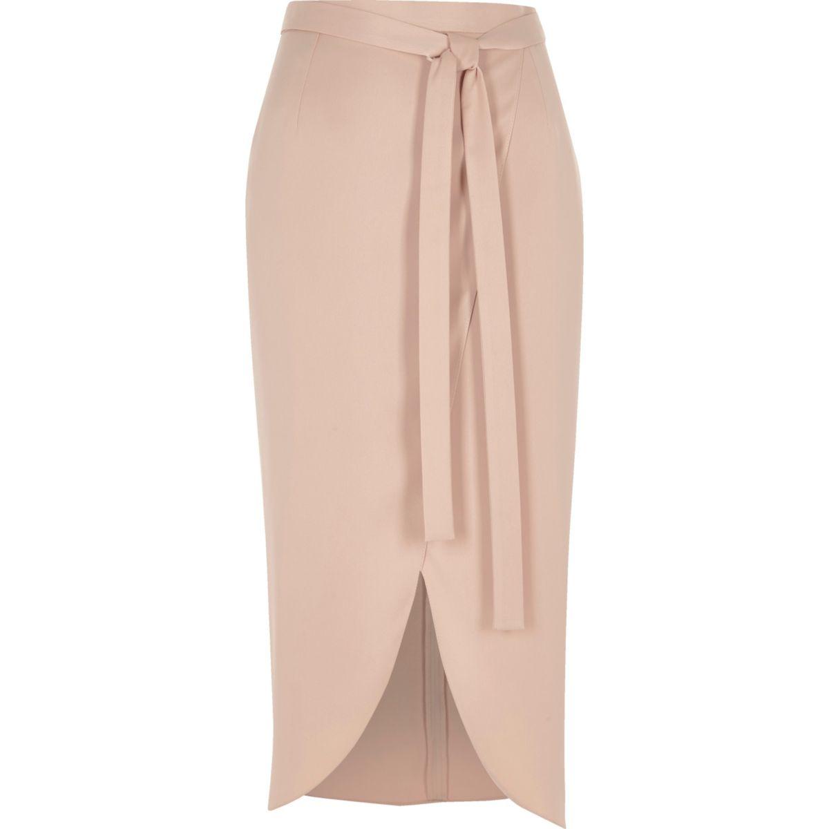 Light pink satin wrap midi skirt