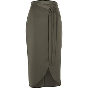 Khaki green satin wrap midi skirt