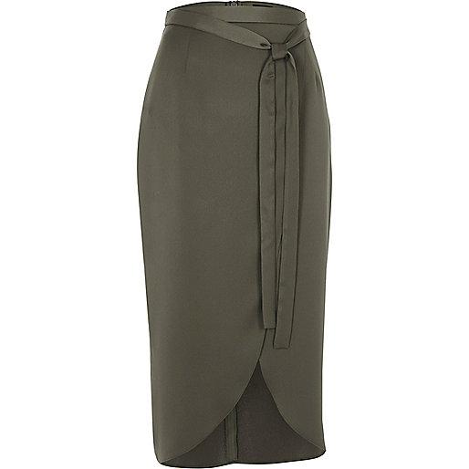 Khaki green satin wrap midi skirt