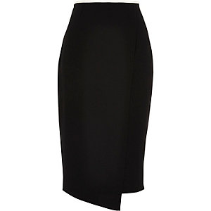 Black asymmetric wrap front midi skirt