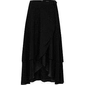Black soft frill wrap hem midi skirt