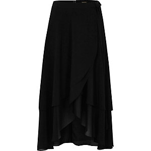 Black soft frill wrap hem midi skirt